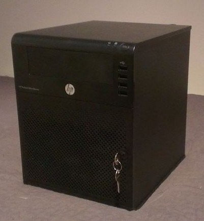 My HP Microserver in all its glorious tiny-ness