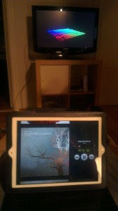 iPad on lap, music played through the pi and music visualization on the TV